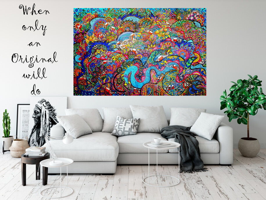 (Available Now) Underwater Reef Original Painting 198cm x 137cm x 4.5cm (Distressed Finish)